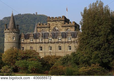 Inverary, Great Britain - September 12, 2014: This Is The Scottish Gothic Medieval Castle Of Inverar