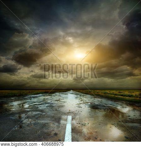 Summer Country Road. Rural Environment Road. Nature Road. Asphalt Road. Landscape With Empty Asphalt