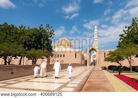Muscat, Oman, 28/01/2020. Muslims Family Entering Sultan Qaboos Grand Mosque In Muscat, Oman. On The