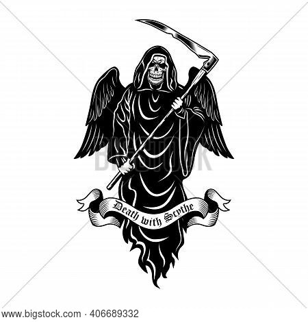 Death With Scythe Emblem Design. Monochrome Element With Skeleton In Black Hooded Gown And Wings Vec