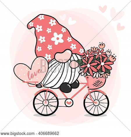 Cute Sweet Pink Gnome Valentine On Bike With Flower And Heart, Cartoon Doodle Vector, Gnome In Love