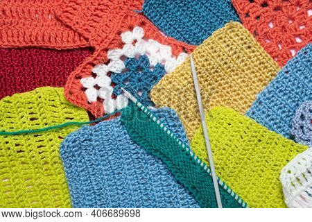 Knitting Background. Knitting Hobby. Background From Knitted Patterns.