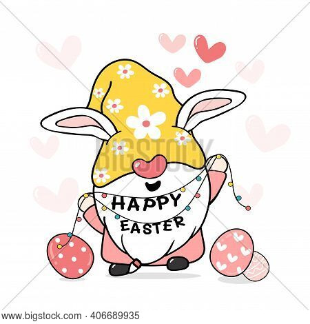 Cute Sweet Easter Bunny Gnome With Rabbit Ears, Happy Easter Cartoon Vector