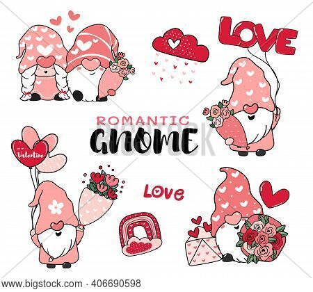 Cute Romantic Valentine Gnome In Pink Hat Cartoon Vector Collection, Happy Valentine Day Idea For Gr