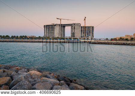 Ras Al Khaimah, United Arab Emirates - February 3, 2020: Hotel Under Construction At Marjan Island I