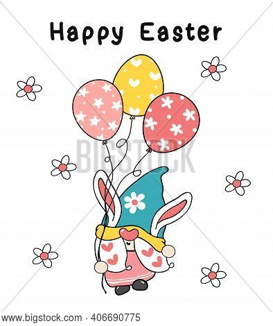 Cute Easter Bunny Ears Gnome Hold Egg Balloons In Pastel Spring Color, Happy Easter, Cute Cartoon Il