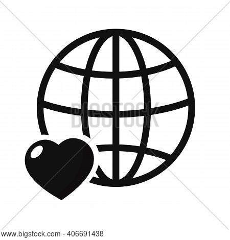 Heart With Globe Icon, Vector Illustration. Flat Design Style. Vector Heart With Globe Icon Illustra