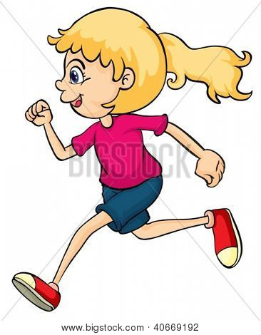 Illustration of a running girl on a white background