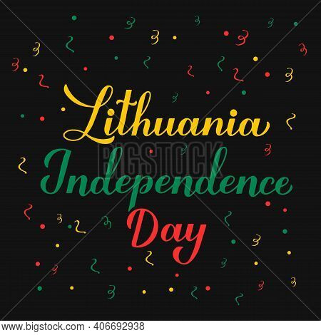 Lithuania Independence Day Calligraphy Hand Lettering. Lithuanian Holiday Celebrate On March 11. Vec