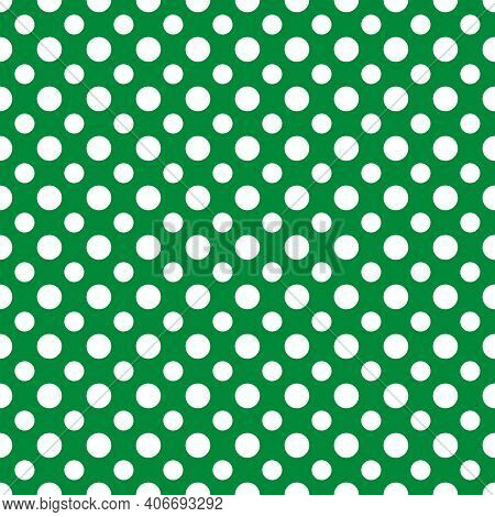 St. Patrick S Day Polka Dot Seamless Pattern. Green White Background. Saint Patricks Backdrop. Vecto