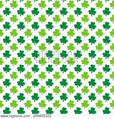 St. Patrick S Day Shamrock Seamless Pattern. Green White Clover Leaves Background. Saint Patricks Ba