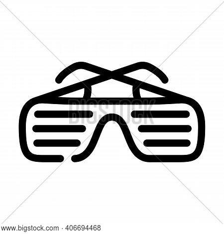 Sunglasses Rapper Stylish Accessory Line Icon Vector Illustration