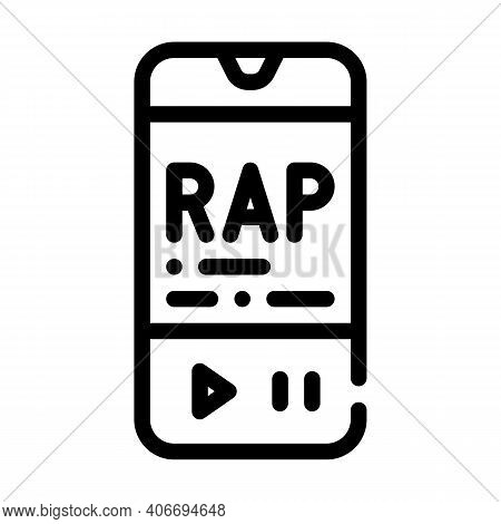 Listening Rap Music Phone App Line Icon Vector Illustration