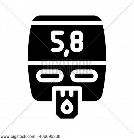 Blood Glucose Meter Device Glyph Icon Vector Illustration