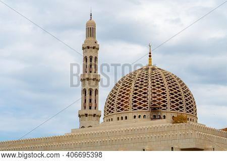 Dome And Minaret Of Sultan Qaboos Grand Mosque In Muscat, Oman.