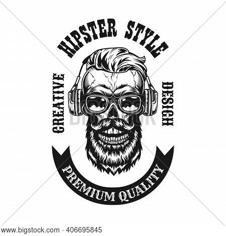 Stylish Hipster With Headphones Label Vector Illustration. Retro Black Emblem With Bearded Skull In