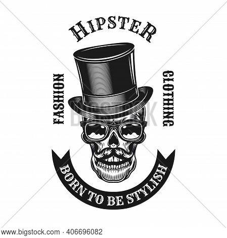 Modern Black Hipster Style Label Vector Illustration. Monochrome Emblem With Stylish Skulls In Eyegl