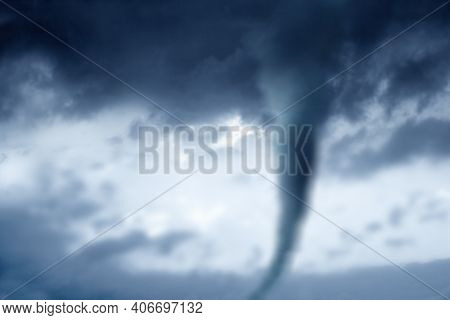 Sky With Epic Dramatic Storm Clouds Over A Tornado. A Very Strong Tornado,