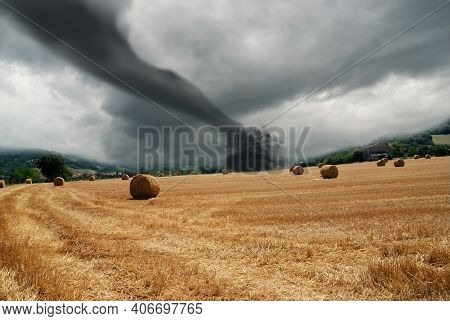 Sky With Epic Dramatic Storm Clouds Over A Tornado. Tornado Wind