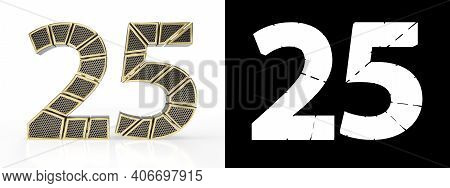 Gold Number Twenty-five (number 25) Cut Into Perforated Gold Segments With Alpha Channel And Shadow