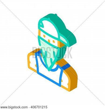 Gangsta Rapper Isometric Icon Vector Illustration Flat