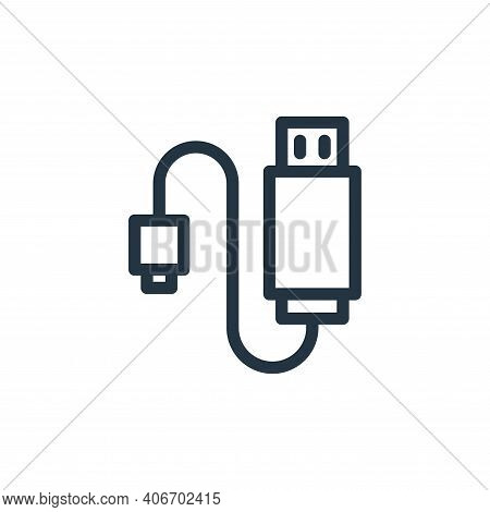 usb cable icon isolated on white background from technology collection. usb cable icon thin line out