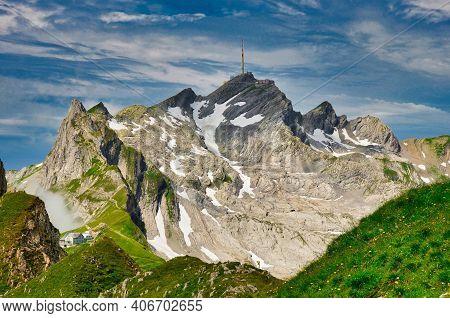 Peaks Santis In Alpstein From Altmann, Swiss Mountains Landscape