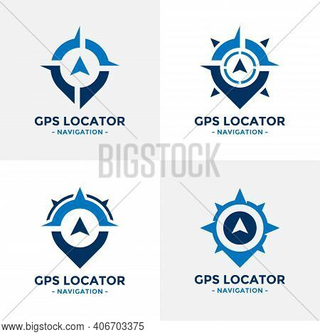 Set Of Gps Locator Logo Design Template. Compass And Gps Map Location Icon Vector Combination. Creat