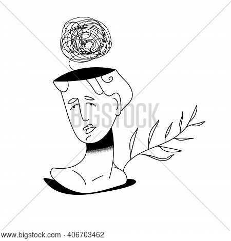 Frustrated Woman With Nervous Problem Feels Anxiety And Confusion Of Thoughts Vector Illustration. M