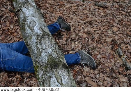 Dead Man Covered With A Tree. The Tree Turned Upside Down And Injured Itself, Falling While Walking