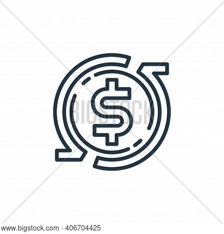 turnover icon isolated on white background from money and currency collection. turnover icon thin li
