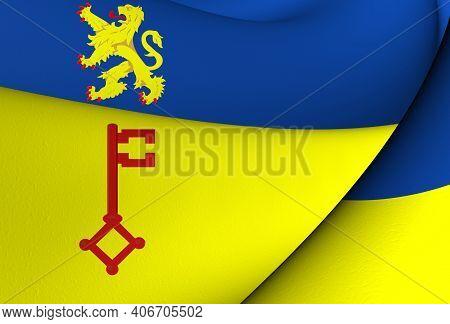 3d Flag Of Vught (north Brabant), Netherlands. 3d Illustration.