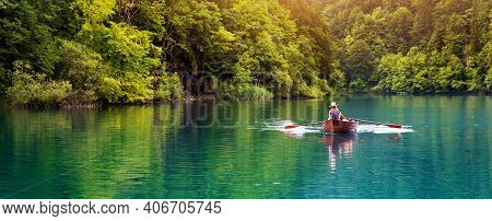 Romantic Ride In A Rowboat In A Lake. Banner