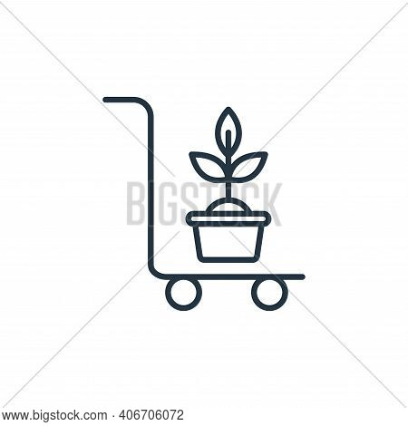 trolley icon isolated on white background from smart farm collection. trolley icon thin line outline