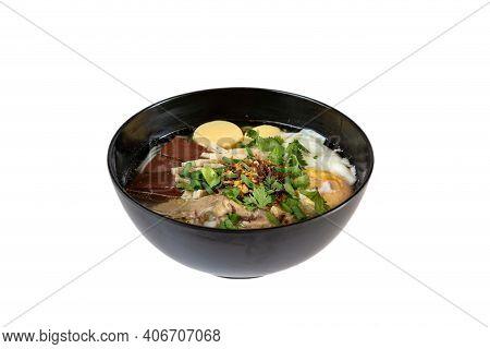Noodle On Wooden Table.delicious Noodles, Thai Food Menu.