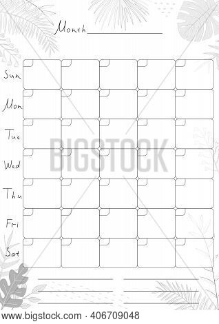 Printable A4 Paper Sheet With Monthly Planner Blank To Fill On Background With Tropical Leaves. Mini