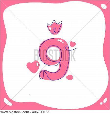 Cartoon Number Nine For Kids Birthday. Vector Line Art. One Line. Vector Illustration