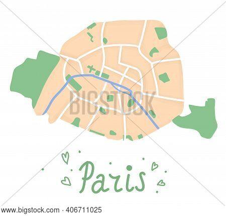 Cartoon Flat Map Of The Center Of The Paris. Seine River Is Blue, Bois De Boulogne And Bois De Vince