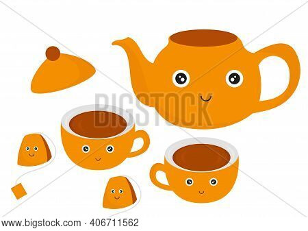 Illustration Of A Teapot, Cup And Instant Tea, With A Warm Orange And Brown Color Combination