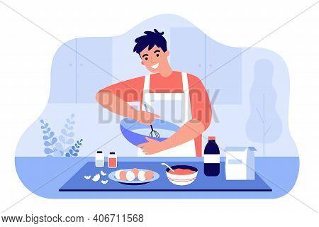Happy Man In Apron Mixing Ingredients In Bowl Flat Vector Illustration. Cartoon Guy Preparing Dough