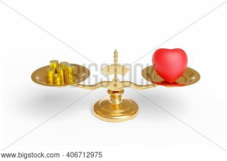 Scale With A Heart And Coins Isolated On White Background. Love Versus Money Concept. 3d Illustratio