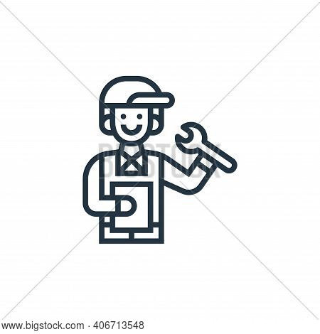 technician icon isolated on white background from railway collection. technician icon thin line outl