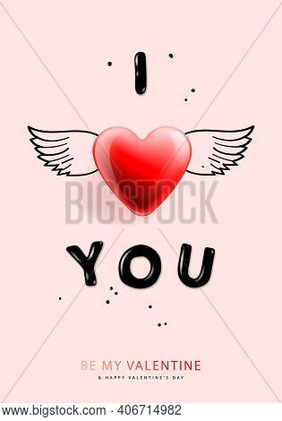 Valentines Day Background With I Love You. Romantic Banner, Greeting Card, Flyer And Brochure, Vecto