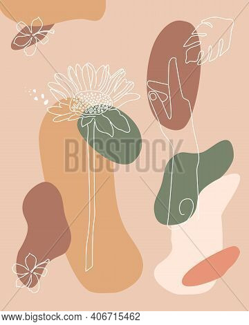 Abstract Hand Drawn Background With Botanical Element And Hand Continuous Line.boho Style Flower. Mi
