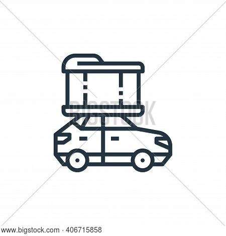 suv car icon isolated on white background from camping collection. suv car icon thin line outline li