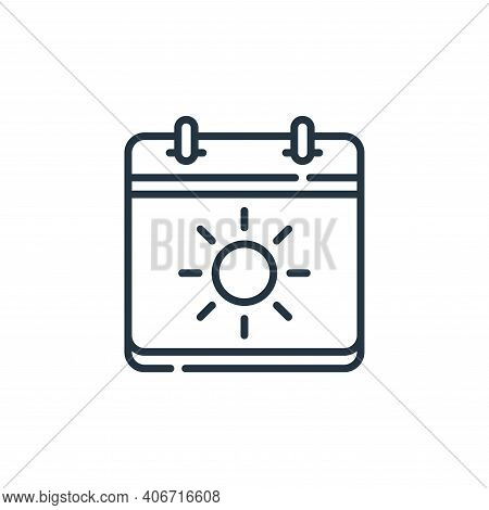 summer icon isolated on white background from calendar and date collection. summer icon thin line ou