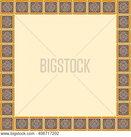 Celtic Traditional Ornament. Square Frame With Geometric Ornament. Ancient Traditions. Vector.