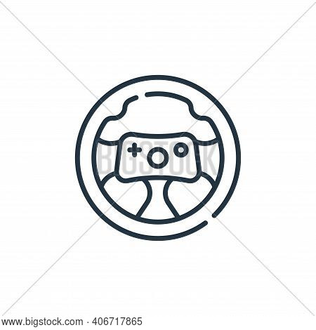 steering wheel icon isolated on white background from videogame collection. steering wheel icon thin