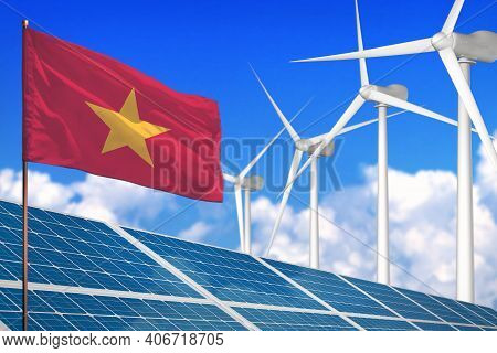 Vietnam Solar And Wind Energy, Renewable Energy Concept With Windmills - Renewable Energy Against Gl