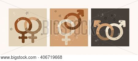 Gender Symbols Set. Heterosexual, Gay, Lesbian. Vector Illustration For Design.
